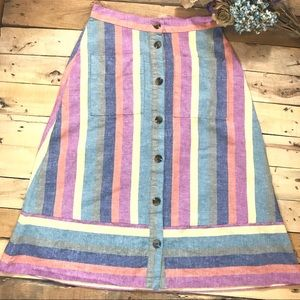 Madewell Linen Rainbow Striped Midi Skirt